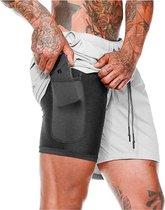 MW® Sportbroek voor Heren - Gym broek met mobiel zak - 2 in 1 Shorts - Sport broekje (Grijs - Maat L)