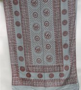 Meditatie omslagdoek met mantra Om, natuurvezel, XL, 220 x 106 cm, grijs, vegan