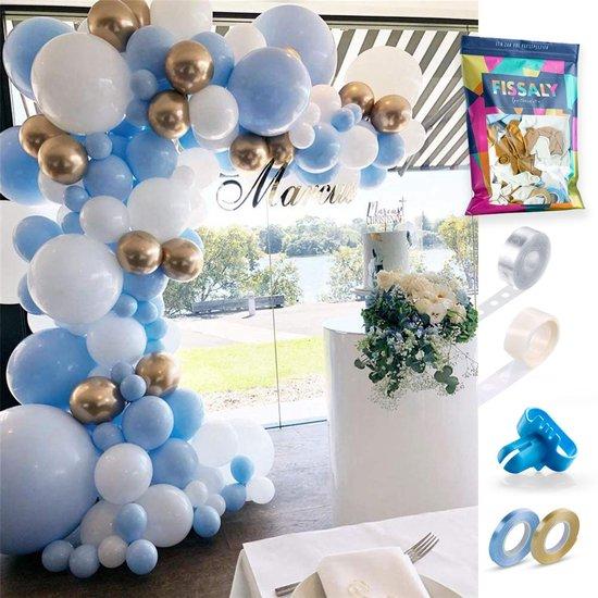 Fissaly® Ballonnenboog Blauw, Wit & Goud – Ballonboog Feest Decoratie Versiering – Verjaardag - Helium, Latex & Confetti Ballonnen Boog
