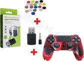 Bluetooth PS4 Dongle + 4 Thumb Grips - Rood - Zwart - Blauw - Grijs + PS4 Anti Slip Skin Kleur Special Red - BT Adapter - Erg handig voor elke AIRPODS of welke BLUETOOTH Headset dan ook