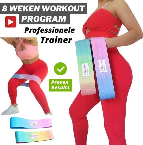 Weerstandsbanden set van 2 incl. gratis uniek online trainingsprogramma met professionele trainer, trainingsband, gymnastiekband, anti slip (booty / resistance / fitness band)
