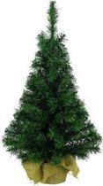 Kleine volle kerstboom in jute zak 60 cm - Kunst kerstbomen / kunstbomen