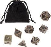 Metal Polydice set - Metalen Polyhedral dobbelstenen set 8 delig | Set van 7 dice in velours bewaarzakje / bag | dungeons and dragons dnd dice | D&D Pathfinder RPG DnD | Koper / Metaal