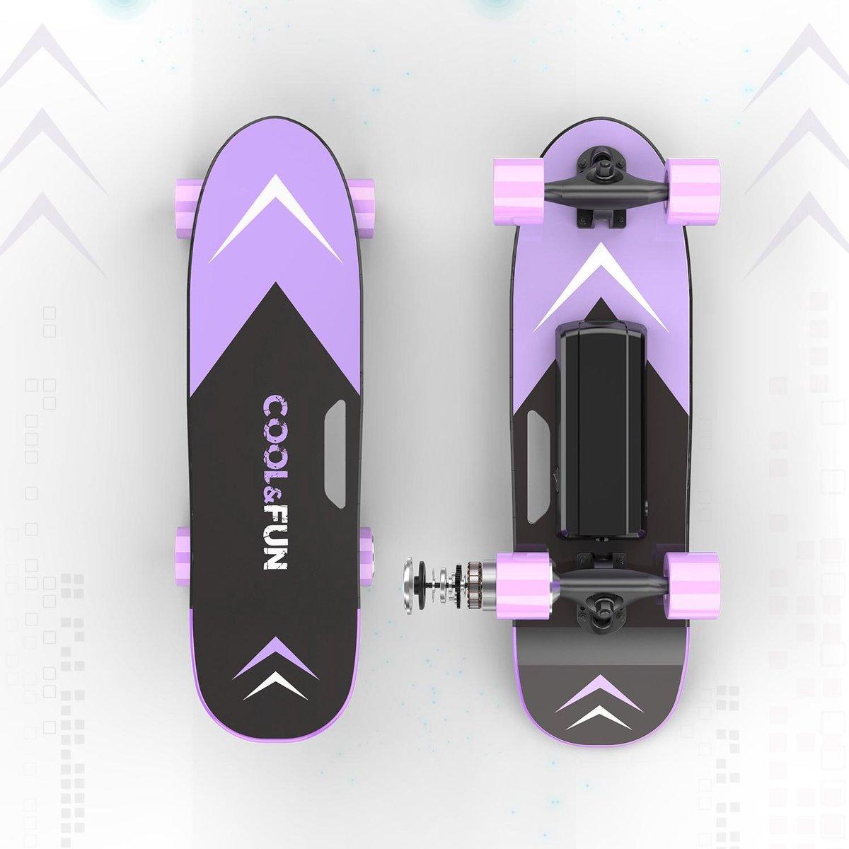 Cool & Fun Elektrisch Skateboard Mini Longboard   Met Afstandsbediening   Paars