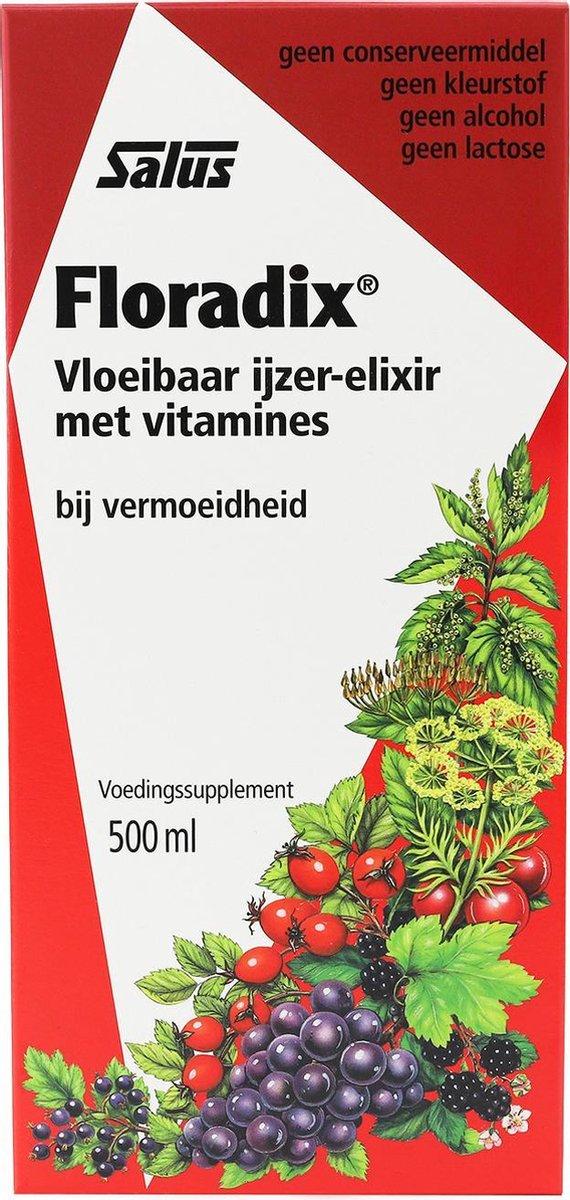 Salus Floradix IJzer-elixir   Bij vermoeidheid   Voedingssupplement met ijzer en vitamine B12   500
