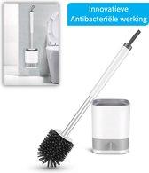 WC borstel met houder| Toiletborstel | Siliconen WC borstel | TPR |milieuvriendelijk | Ultra Hygiënisch | innovatief design | antibacteriële werking | wit met grijs | Duurzaam en ventilerend | Badkamer accessoires | toilet accessoires