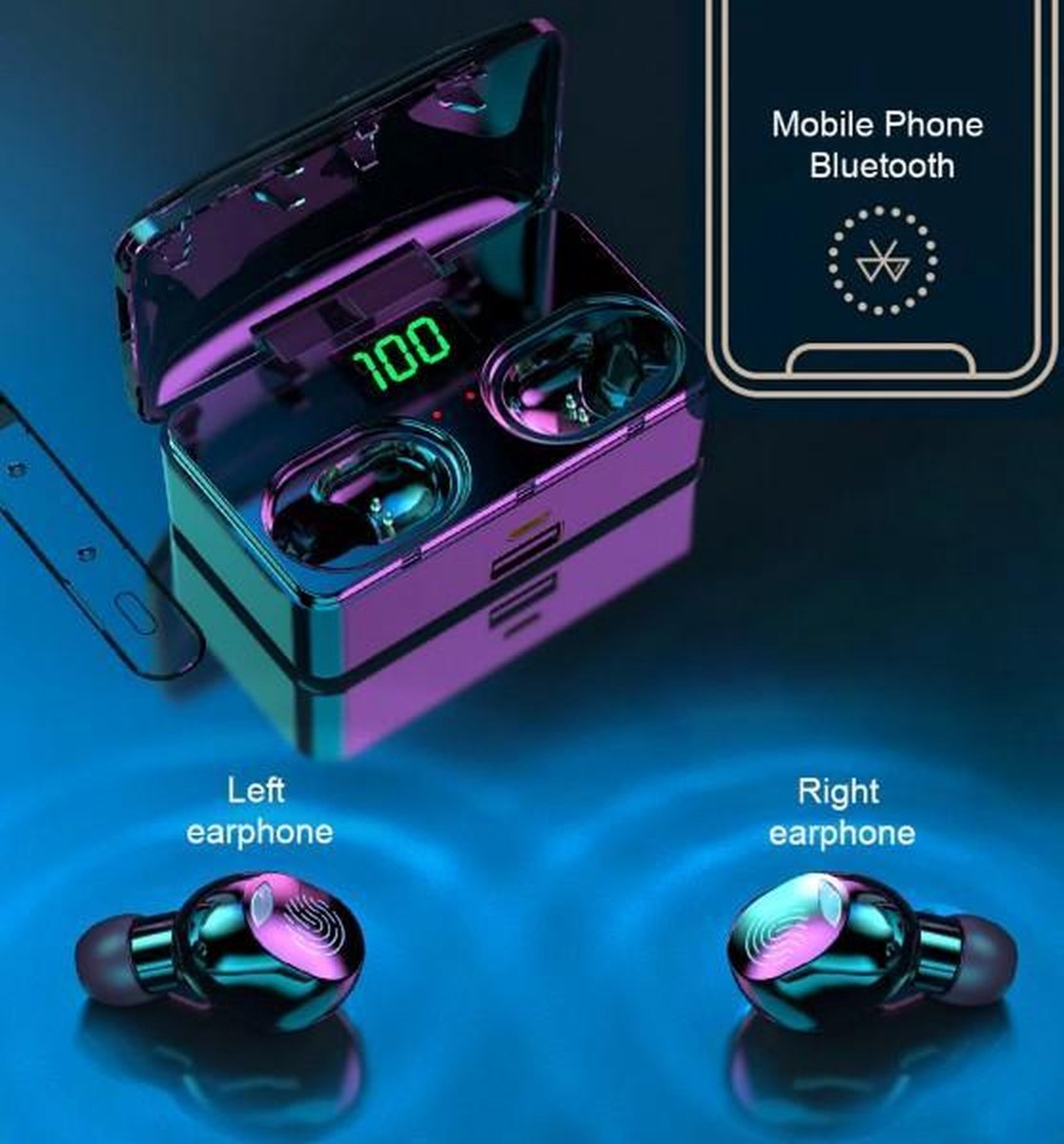 Hoco – Draadloos oordopjes 9D Stereo Sports – Bluetooth 5.1 koptelefoon/ Draadloze sport oortjes/ sportoordopjes/ Oplaadcase – Power bank /Bluetooth Oordopjes/Compatibel  iPhone, Samsung, Huawei, Android-smartphones enz. – In-ear – Headphone -Headset