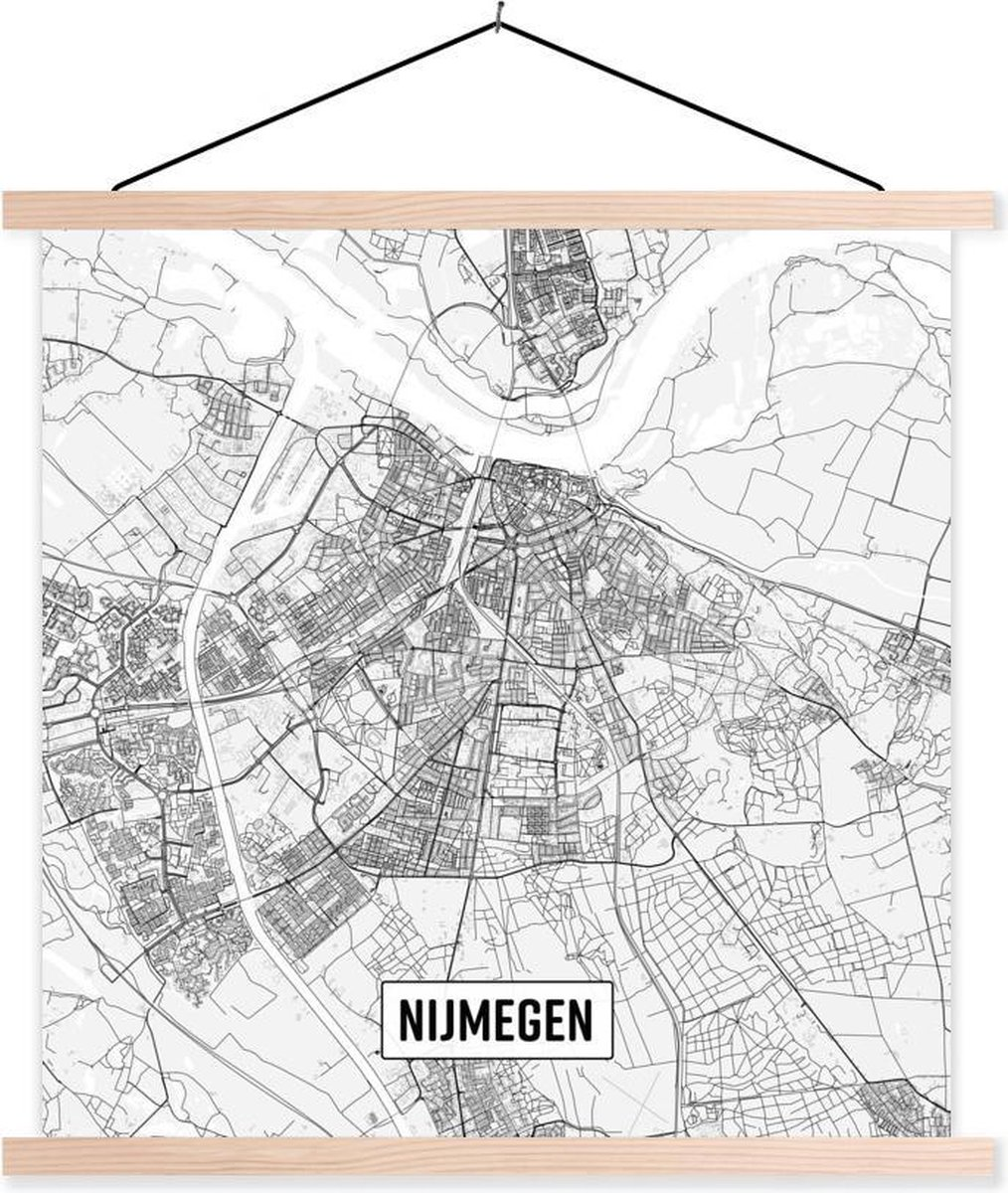 Stadskaart Nijmegen textielposter latten blank - Plattegrond 60x60 cm - Foto print op schoolplaat (wanddecoratie woonkamer/slaapkamer)