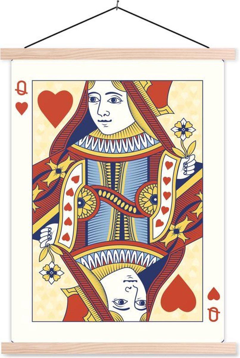 Ge llustreerde speelkaart van een harten koningin textielposter latten blank 60x80 cm - Foto print op schoolplaat (wanddecoratie woonkamer/slaapkamer)