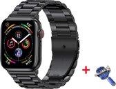 Luxe Metalen Armband Voor Apple Watch Series 1/2/3/4/5/6/SE 42/44 mm Horloge Bandje - iWatch Schakel Polsband Strap RVS - Met Horlogeband Inkortset - Stainless Steel Watch Band - One-Size - Zwart