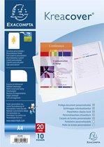Kreacover® Personaliseerbare showalbums harde PP met vaste rug - 10 tassen - 20 zichten - A4 - Wit