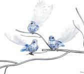 Viv! Home Luxuries Kerstbal vogeltjes in Delfts blauw - 3 stuks - blauw wit - 17,5cm - topkwaliteit