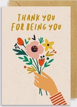 Postkaart - Thank you for being you - Graphic Factory - 2delig - A5