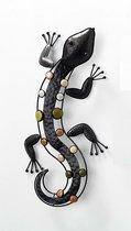 Hagedis - Kleur steen - 52 cm - Bruin - Metaal - Buiten - Binnen - Wanddecoratie - Muurdecoratie