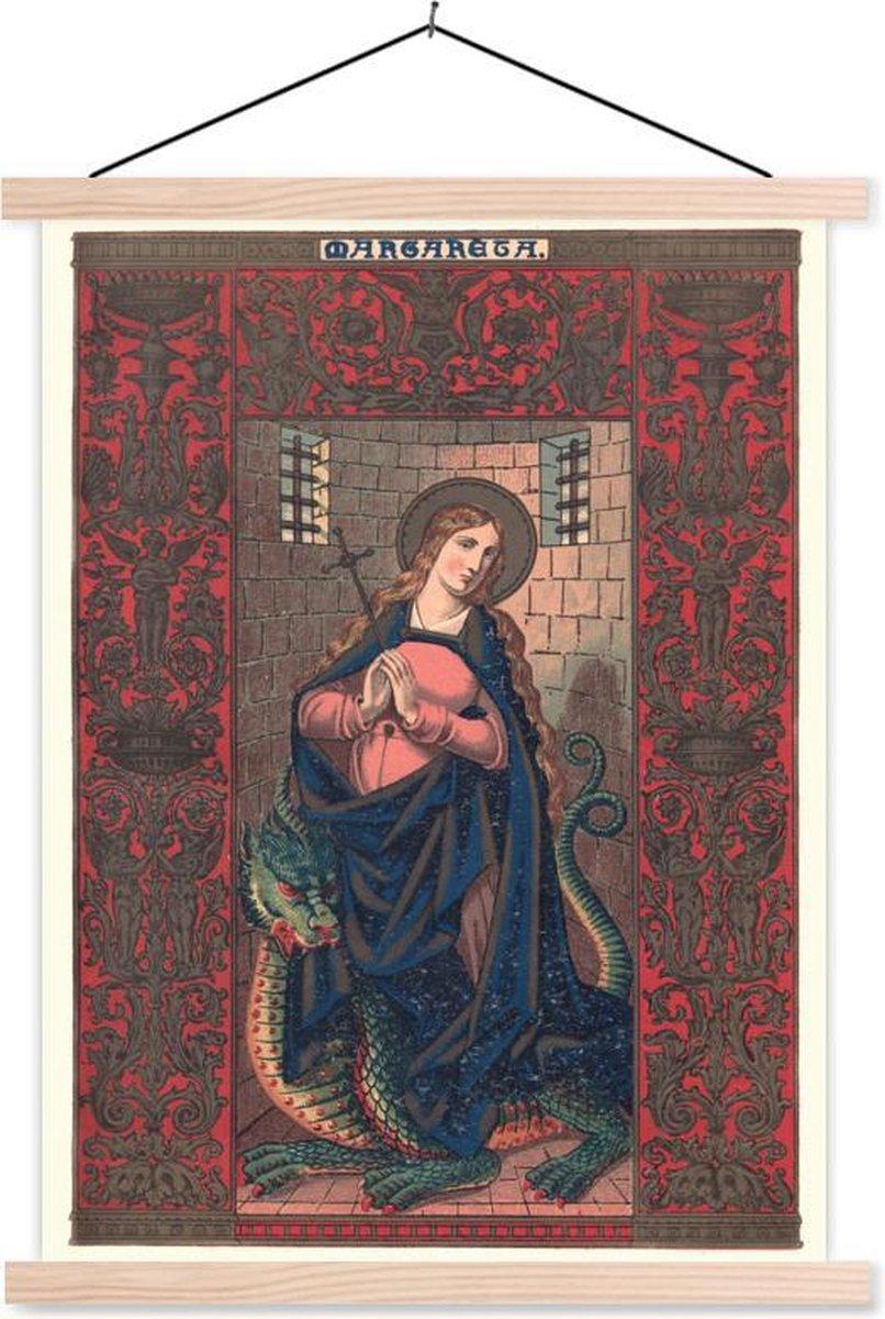 Mythische illustratie van de heilige Margaretha textielposter latten blank 90x120 cm - Foto print op schoolplaat (wanddecoratie woonkamer/slaapkamer)