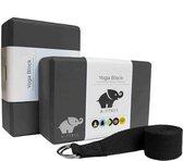 A-FTNSS Yoga Blokken Set Zwart + Gratis Yoga Riem | EVA Foam | 2 Yoga Blokken (22.7x12x7.5 cm)