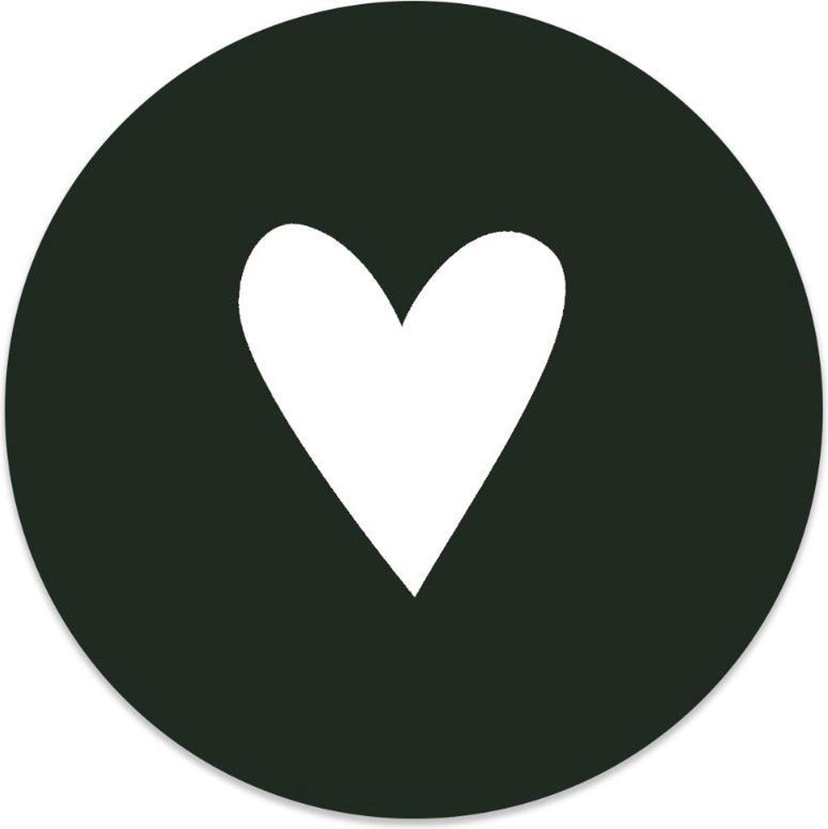Label2X Muurcirkel hart wit groen -   60 cm - Forex
