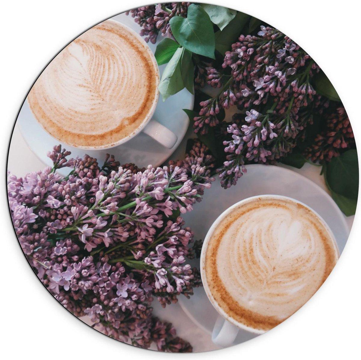 Dibond Wandcirkel - Twee Kopjes Koffie bij Bloemen - 70x70cm Foto op Aluminium Wandcirkel (met ophangsysteem)