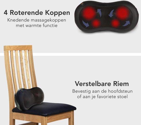 LifeGoods Shiatsu Massage Kussen - Elektrisch Nek en Rug Apparaat - met Warmte Functie – Zwart