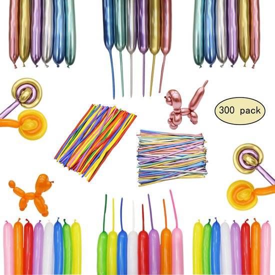 300 Modelleer Ballonnen  MagieQ (mix+Metallic/Chrome) Helium Latex Assorti kleuren Draaiende , lange ballonnen, magisch ballonen Feest|Party|Kinderfeesje|Decoratie|versiering|Kerst|