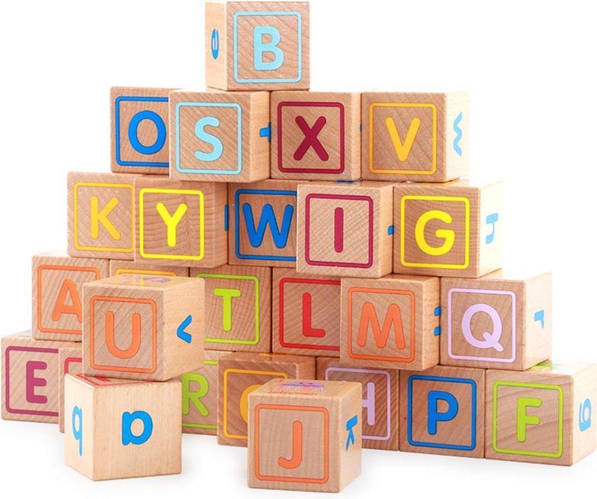2-in-1 Extra Grote houten Blokken met zijlengte 4 cm & Spel Puzzel met dieren en letters vanaf 6 maand