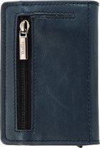 Wallix® Luxe Pasjeshouder - Uitschuifbaar - Unisex Portemonnee - 100% RFID Veilig - Leren Creditcardhouder - Blauw/Zilver