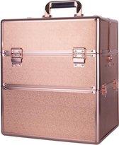 Koffer groot Rosé Gold met opbergvakken/Make-up koffer/Beautycase/Visagie koffer /Cosmetica koffer /Beauty case/ Nagelstyliste koffer