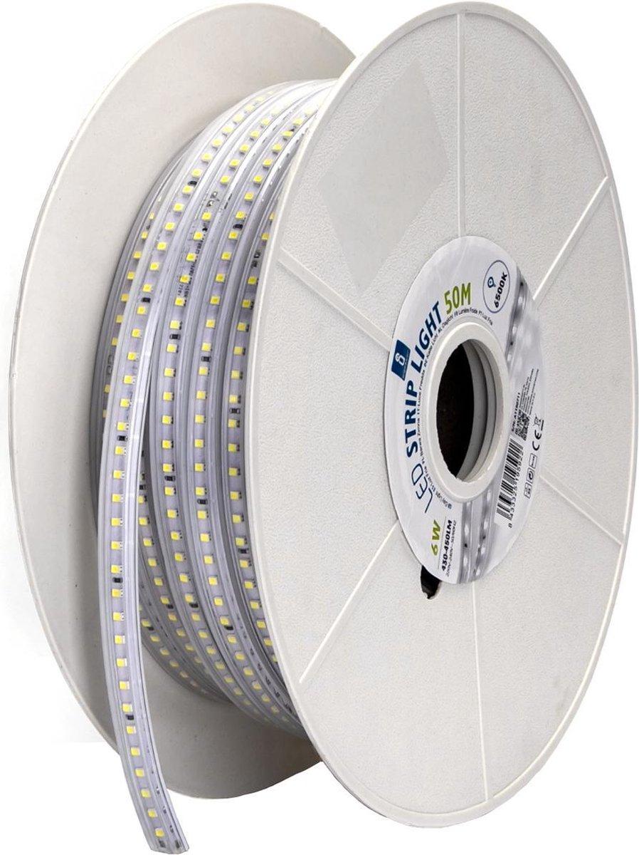 LED Strip - Aigi Stribo - 50 Meter - Dimbaar - IP65 Waterdicht - Helder/Koud Wit 6500K - 2835 SMD 230V - BES LED