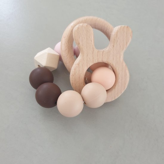 Bijtring konijntje , Nijntje , Hout babyspeelgoed / bijtring, baby bijtring, kraamkado , kraamcadeau