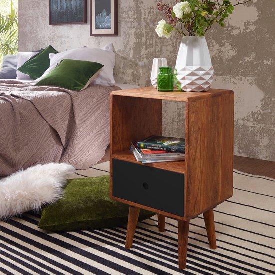 Pippa Design retro houten nachtkastje - bruin zwart