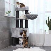 XXL Luxe Stevige Katten Krappaal Voor Grote Katten - Stevige Maine Coon Krabmeubel Met Hangmat Mand  Katten Huis  Tunnel & Speel Touw - Grote Krab Paal Klimpaal - 141 CM Hoog - Grijs/Zwart