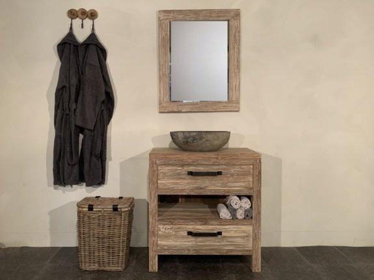 Teak badmeubelset 80cm White Wash incl spiegel & waskom