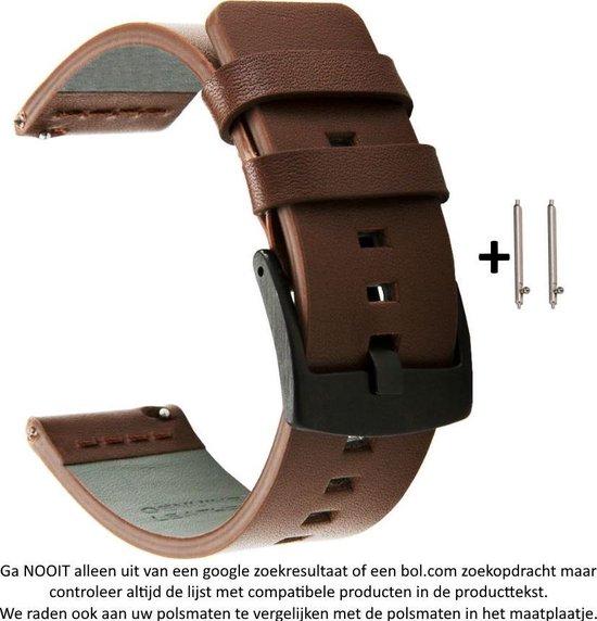 Bruin leren Bandje voor 20mm Smartwatches (zie compatibele modellen) van Samsung, Pebble, Garmin, Huawei, Moto, Ticwatch, Citizen en Q – 20 mm brown leather smartwatch strap - Horloge - Leder - Leer