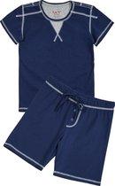 La V Shortama voor jongen- Effen donkerblauw 140-146