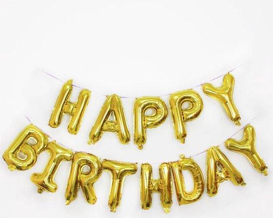 Folie Ballon - Happy  Birthday Goud - Gold Met Rietje