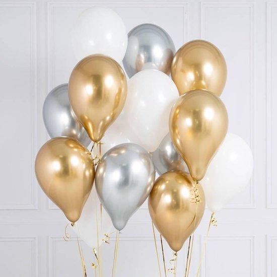 50 stuks Classy assortiment luxe grote ballonnen - metallic zilver, metallic goud en wit verjaardag ballonnen - extra groot 38 cm lang - top kwaliteit bio afbreekbaar latex - voor helium, lucht, etc. - met snel sluiters t.w.v. 10,95