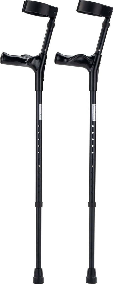 Elleboogkrukken ergonomisch zwart. Maat M/L. Loopkrukken - krukken anatomische handvatten, gesloten