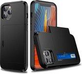 R2B Iphone 11 hoesje met pasjeshouder - Gratis screenprotector - Shockproof - Zwart
