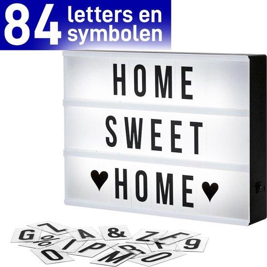 Cinema Lightbox A4 - Lightbox - Letterbak met Licht - Lightbox Letters - Woondecoratie - Zwart - 30,5X22X6,5 cm