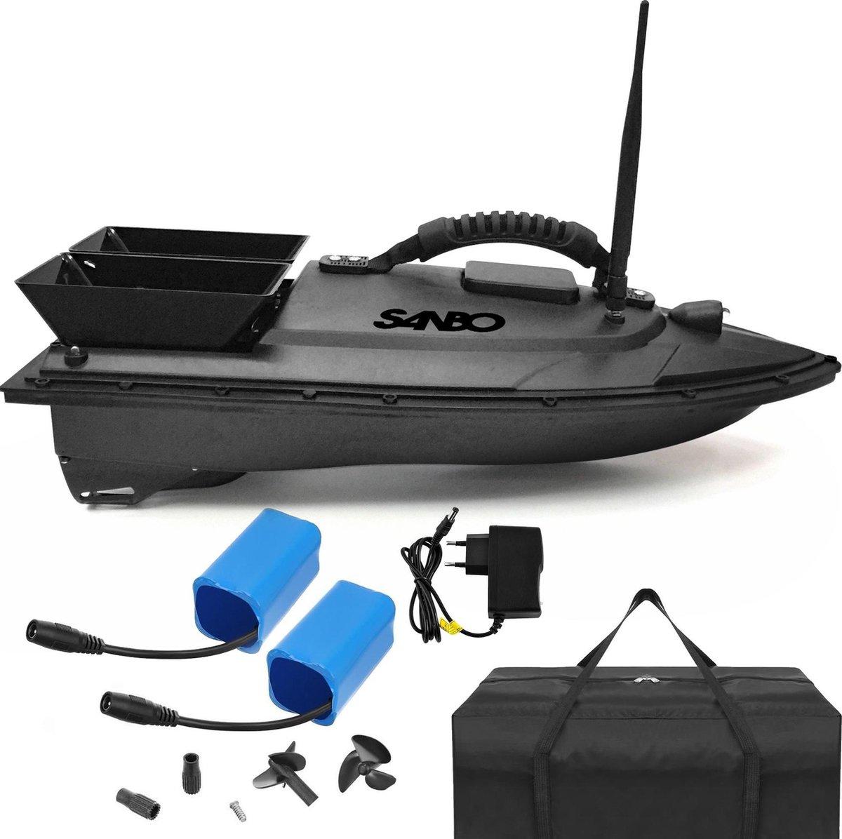 Sanbo  - Voerboot - inclusief tas en 2 batterijen - Voerboot Karpervissen - Baitboat - visspullen -