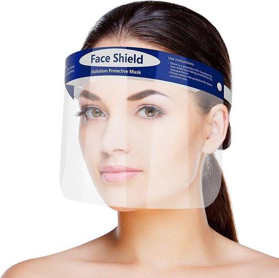 Afbeelding van Gezichtscherm - Faceshield - Face mask - Transparant / Blauw - 1 Stuks