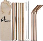 Herbruikbare metalen rietjes – 13-delige set – RVS smoothie & cocktail rietjes - Rosé goud