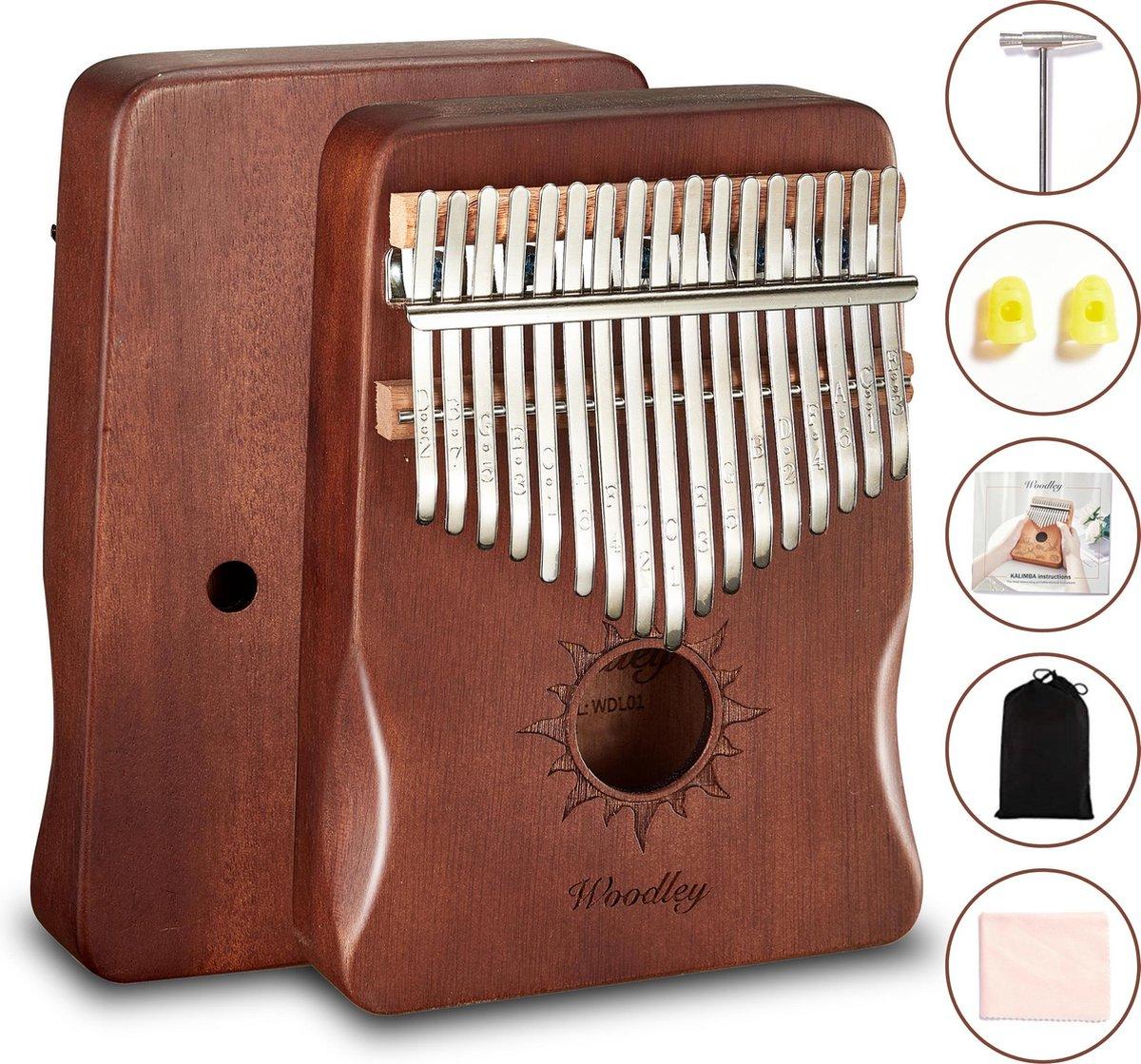 Kalimba set - 17 tonen - Duimpiano - Muziekinstrument - Mahoniehout - Cadeau voor man en vrouw - Voo
