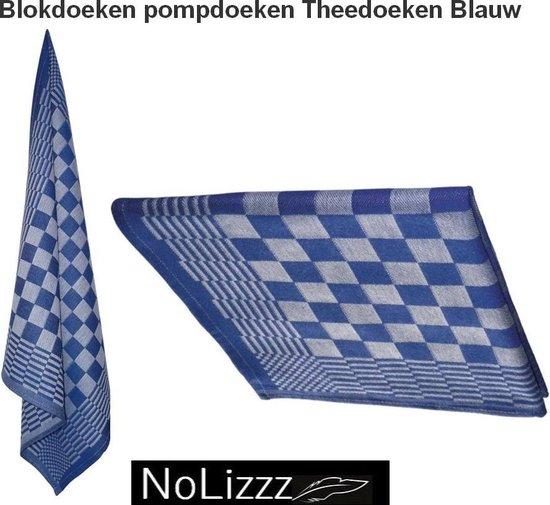 Keukendoek hemels blauw / wit 100% katoenen badstof   set van 6 stuks   50x50cm  - Leverbaar in: 50x50