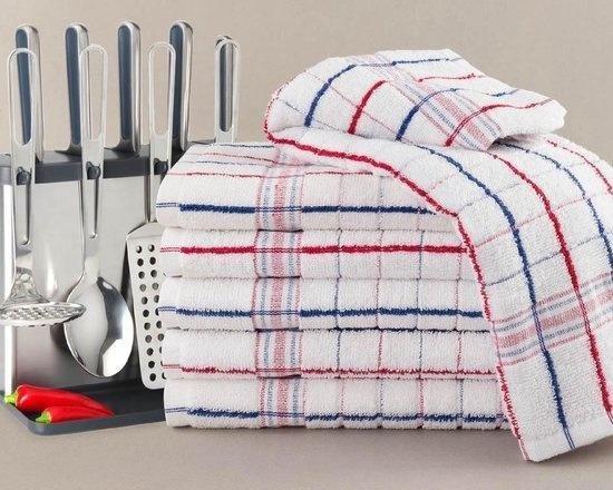 Keukendoek Nationale ruiten rood / blauw - 50x50cm - set van 6 stuks - 100% katoenen badstof