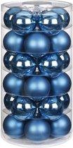 30x Blauwe glazen kerstballen 6 cm glans en mat - Kerstboomversiering blauw