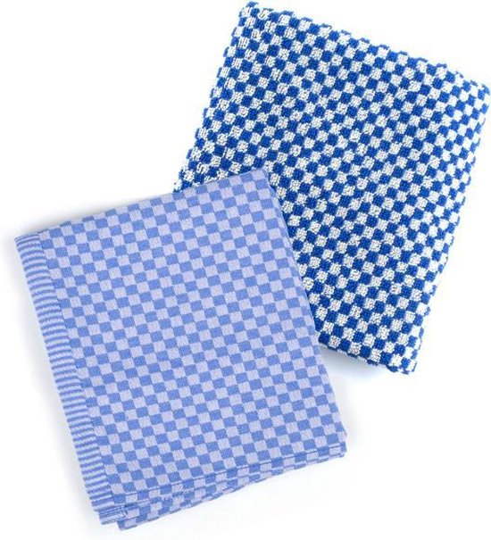 Bunzlau Castle Small Check Keukenset (Keukendoek + Theedoek) - 100% Katoen Jaquard - Royal Blue