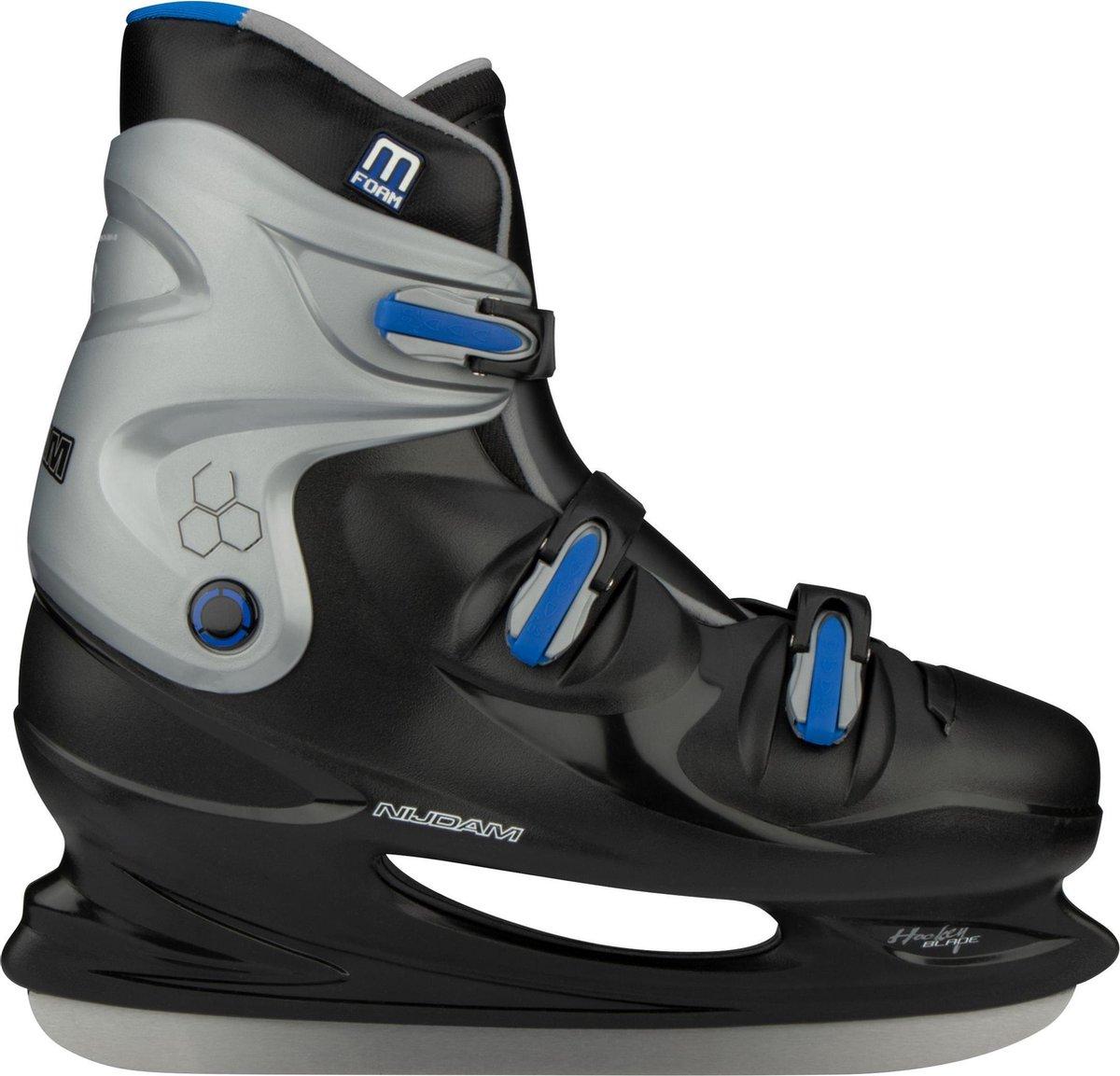Nijdam IJshockeyschaats XXL - Hardboot - Zwart/Zilver/Blauw - 49