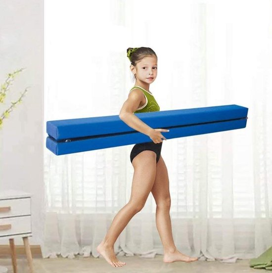 Opvouwbare turnbalk blauw + oefenvideo`s - Ideale compacte balk om thuis oefeningen op te turnen | Opvouwbare Evenwichtsbalk