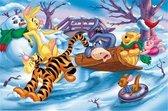 Winnie de Pooh en vriendjes door de Sneeuw | Full Diamond Painting 45x35cm rond.